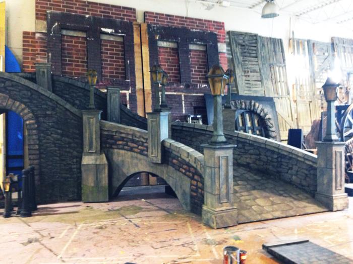 """Shō artist's building the set for Theatre Alive's """"Les Miserables"""""""
