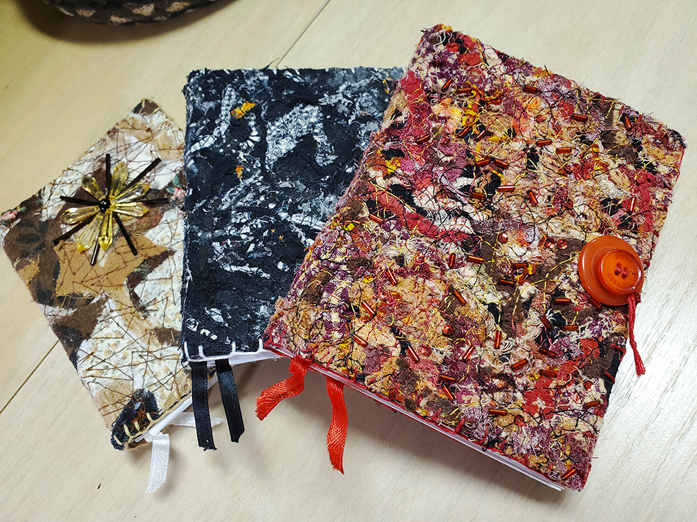 Fusion Fiber Arts was named after Deb's innovative creation of Fusion Fiber as seen on these notebooks.
