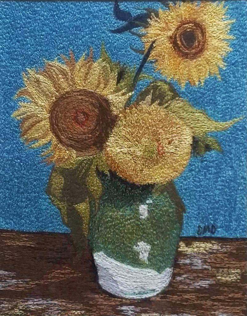 "Beautiful thread painting inspired by Van Gogh's ""Three Sunflowers"" by Deborah Dunlop"